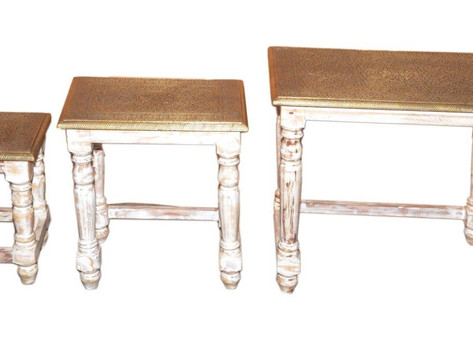 Set of 3 Hand worked Brass Top Nested Table in Mango Wood