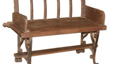 Repurposed Antique Ox Cart Siderails Bench in Teak Wood and Cast Iron Legs