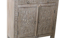 Repurposed Hand Carved Elements from a Vintage Arch Way 2 Drawer Sideboard in Mango Wood