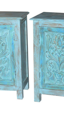 Repurposed Antique Door Panels Bedside Cabinet in Teak Wood
