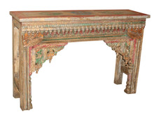Repurposed Antique Archway Facia Console Table with Handpainted Top in Teak Wood
