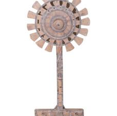 Vintage Teak Wood Charkha Wheel Display