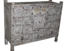 **SOLD** Antique Wooden Damchiya (Bridal Chest) 3 Drawer Sideboard in Teak Wood