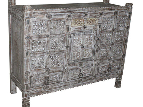 Antique Wooden Damchiya (Bridal Chest) 3 Drawer Sideboard in Teak Wood