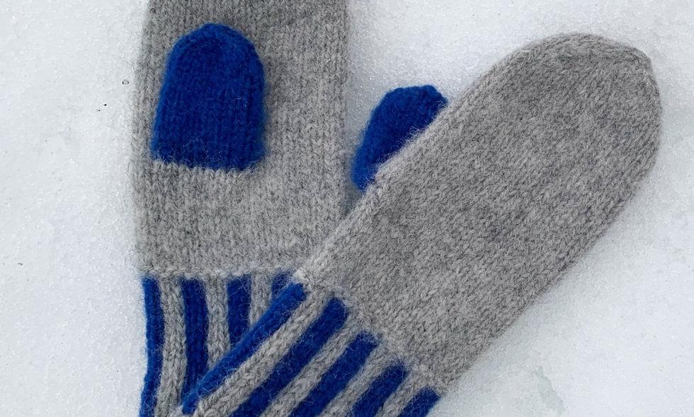 mitten:duo blue/grey