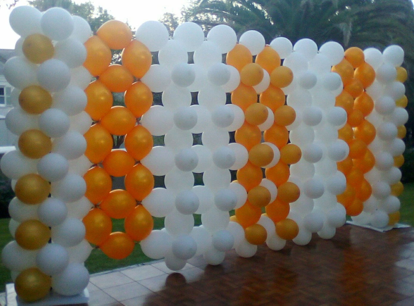 Gold and White Balloon Wall