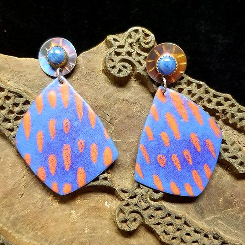 Lapis and enamel earrings