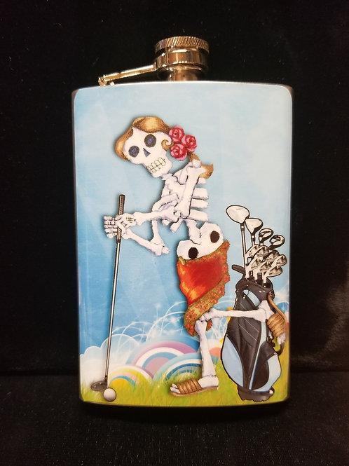 Dia De Los Muertos Golfer (W) Flask