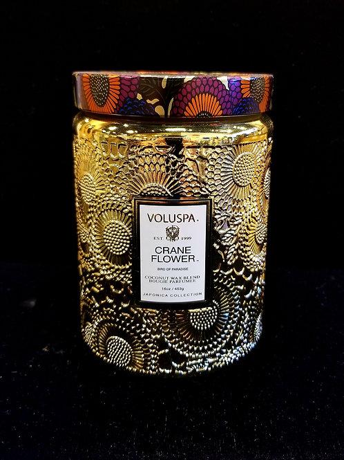 Crane Flower Embossed Glass Jar Candle