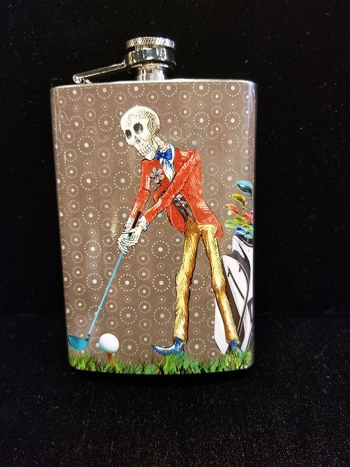 Dia De Los Muertos Golfer (M) Flask