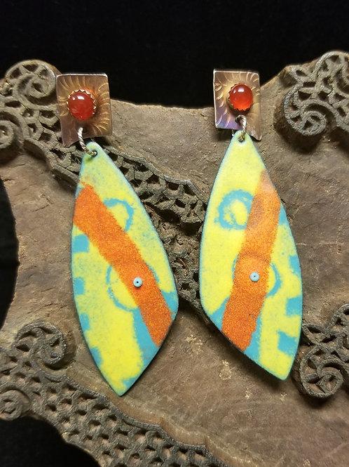 Carnelian and enamel earrings