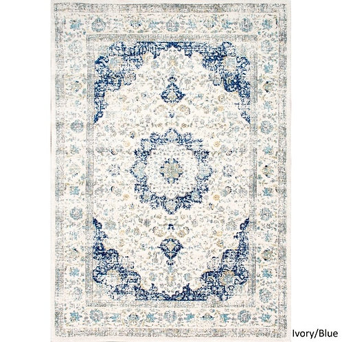 Large Blue & Ivory Wool Rug