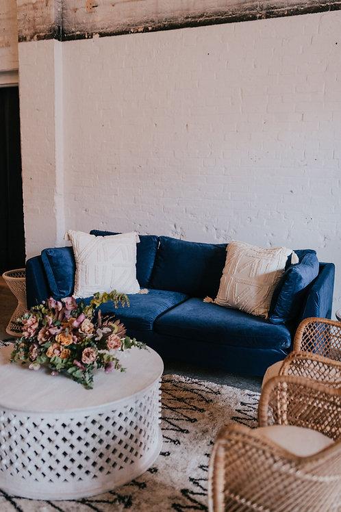 Indigo Velvet Modern Sofa