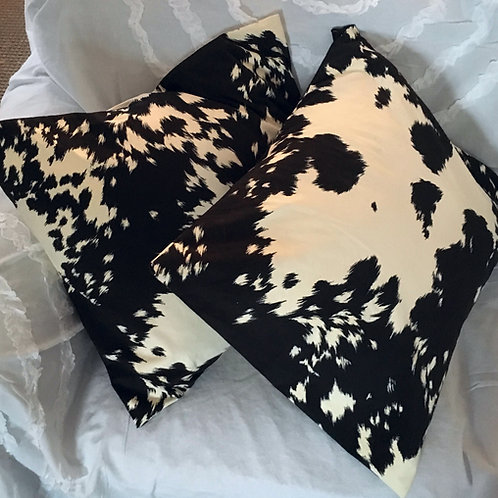Black & Cream Velvet Cowhide Pillows