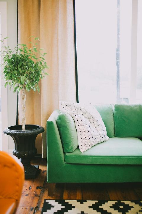 Mid Century Modern Green Sofa