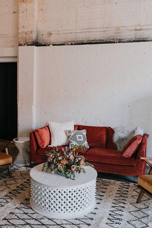 Rust Velvet Modern Sofa