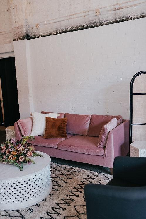 Pink Velvet Modern Sofa