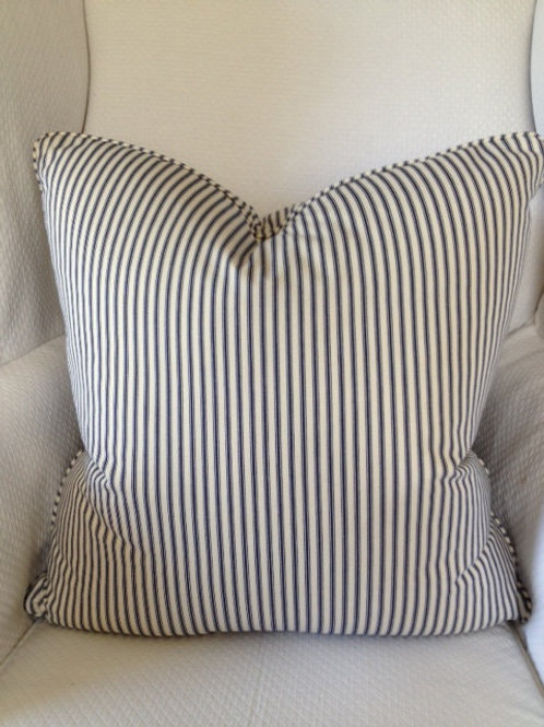 Navy Ticking Striped Down Pillow