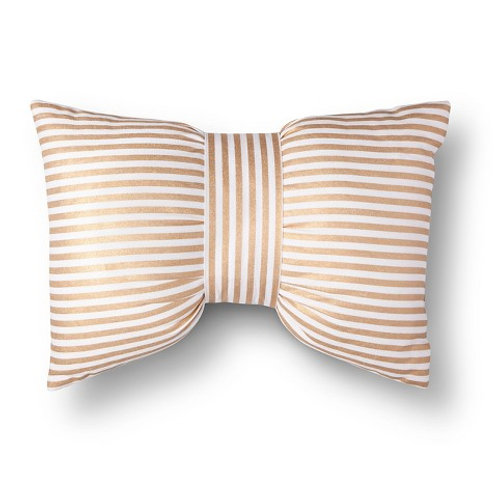 Gold Striped Bow Pillow