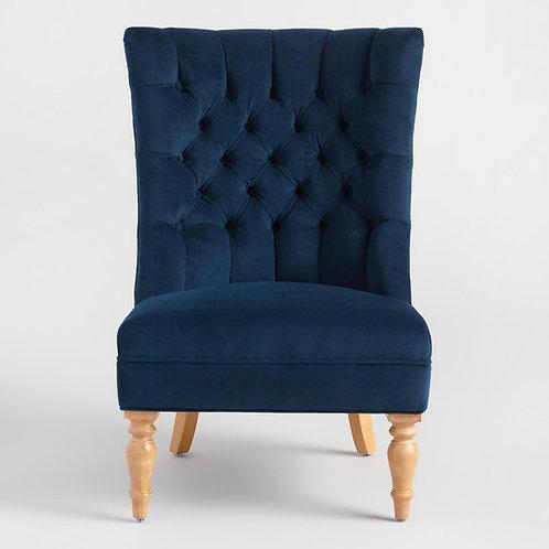 Navy Blue Tufted Velvet Chair