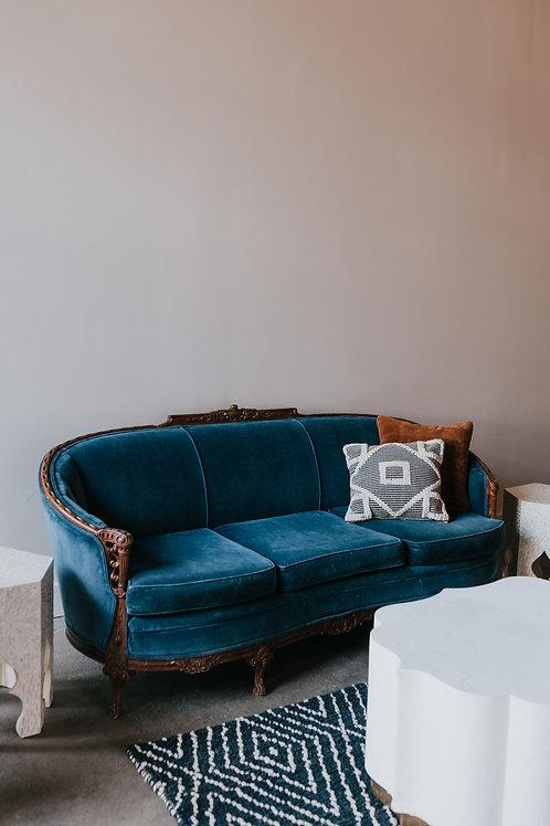 Antique Blue Velvet Wood Carved Sofa