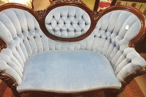 Light Blue Camel Back Loveseat