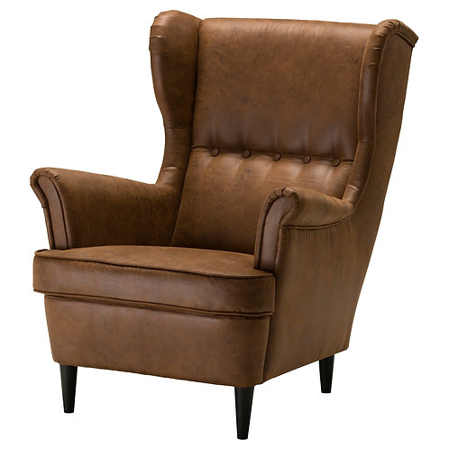 Tan Leather Wingback Chair