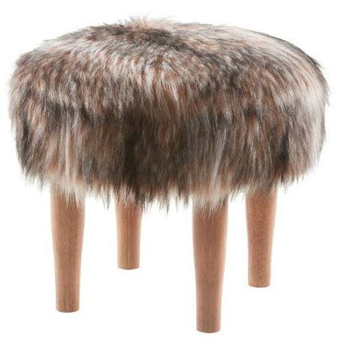 Faux Fur Footstool