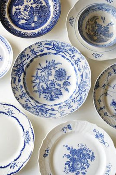Mismatched Blue And White China-7""