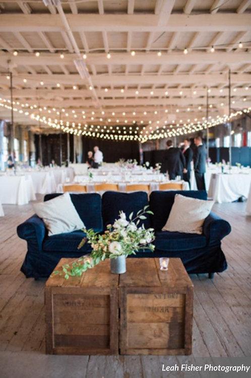Navy Blue Velvet Slipcovered Sofa