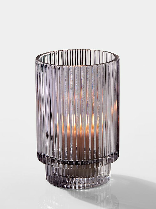 Smoke Pleated Glass Candle Holder