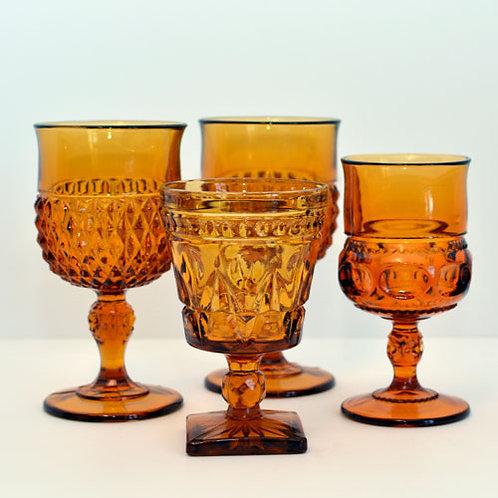 Vintage Amber Goblet