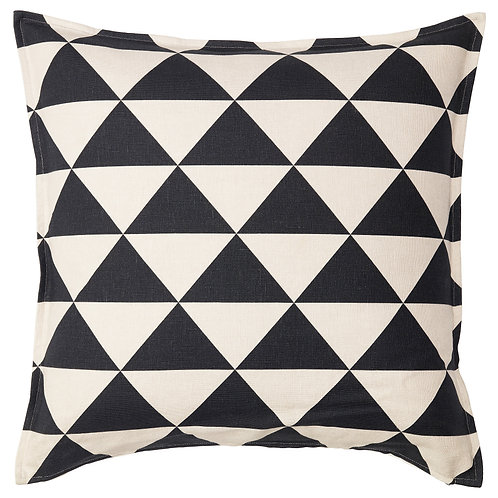 Black & Natural Patterned Pillow