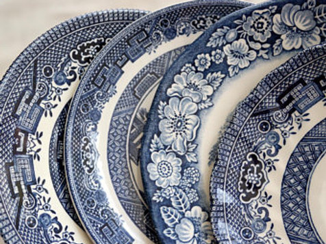 Mismatched Blue And White China Plates-10""