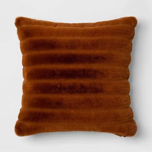 Rust Channel Faux Fur Pillow