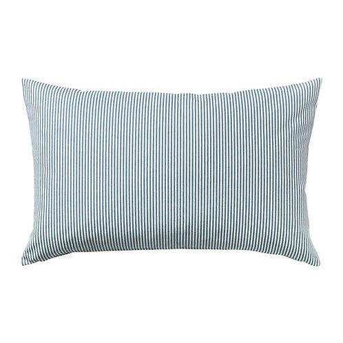 Soft Blue + White Striped Pillow