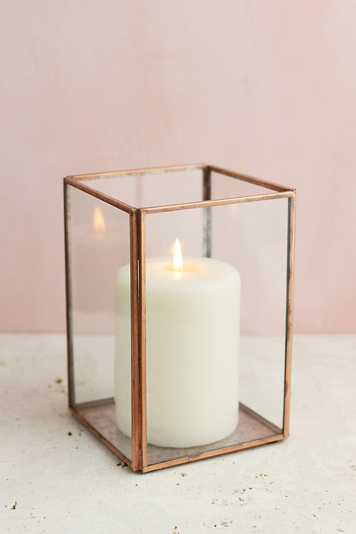Copper & Glass Terrarium Lantern-Medium
