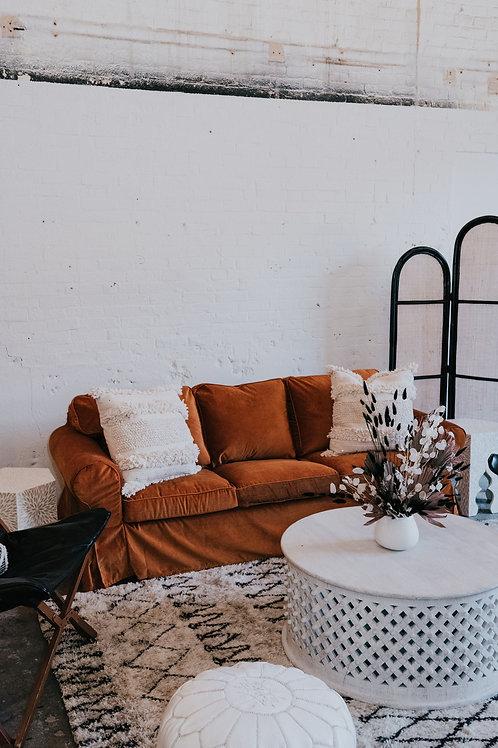 Ochre Velvet Slipcovered Sofa
