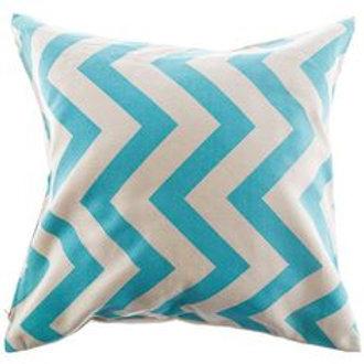 Aqua & Natural Chevron Pillow