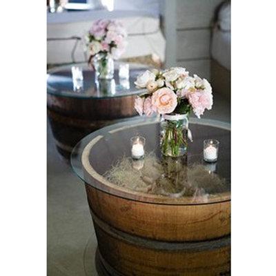Half Barrel Table w/ Glass Top