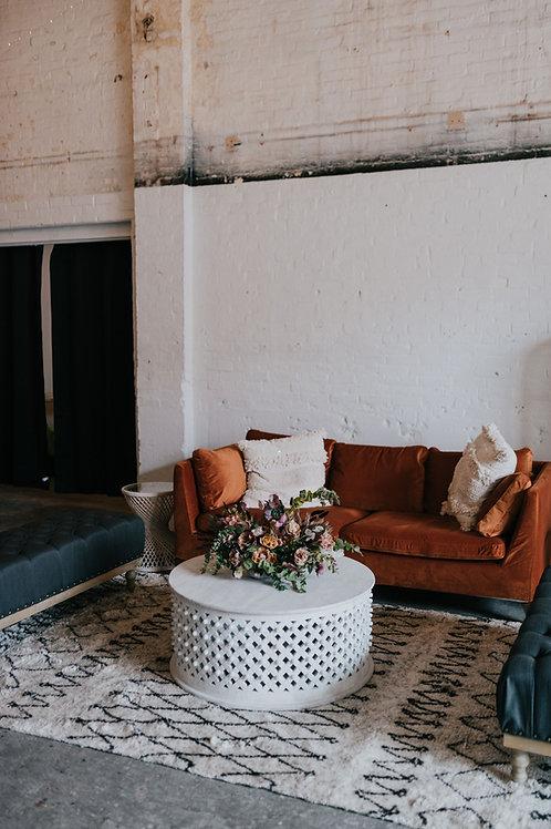 Ochre Velvet Modern Sofa