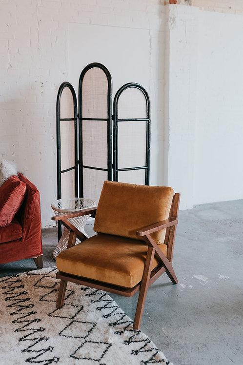 Mid Century Modern Gold Velvet Chair