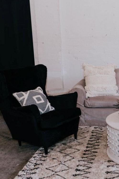 Black Velvet Wingback Chair