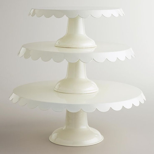 Large Ivory Tin Cake Stand