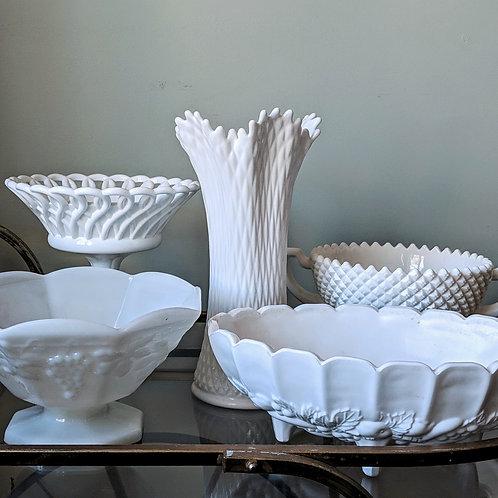 Large Milk Glass Pieces