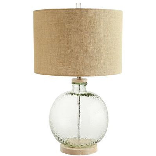Recycled Glass Lamp with Burlap Shade