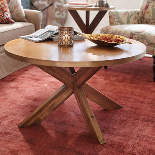 Copper Top X Base Coffee Table