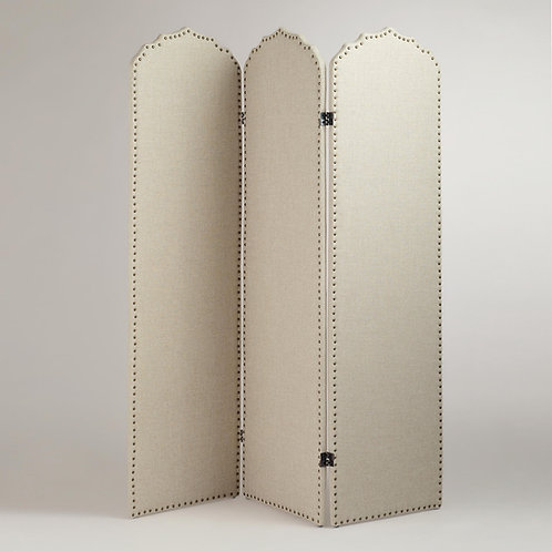 Upholstered Screen With Brass Nails