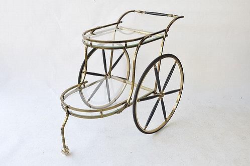 Antique Glass and Brass Tea Cart