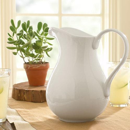 White Ceramic Farmhouse Pitcher